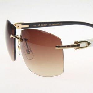Cartier White Black Mix Buffalo Sunglasses